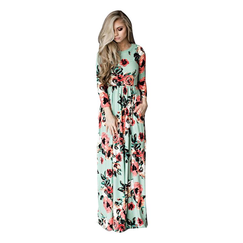 ELSVIOS-2017-Summer-Boho-Beach-Dress-Fashion-Floral-Printed-Women-Long-Dress-Three-Quarter-sleeve-Loose (2)