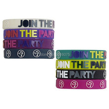 300pcs embossed logo join the party Fitness CrossFit zumb wristband silicone bracelets free shipping by DHL express