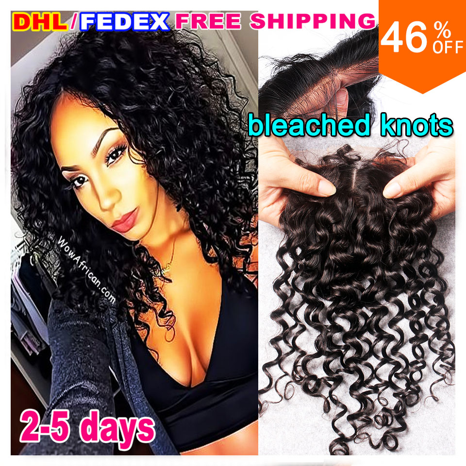 Best virgin indian curly hair lace closure bleach knot jerry curl closure raw indian curly closure indian deep curly closure DHL<br><br>Aliexpress