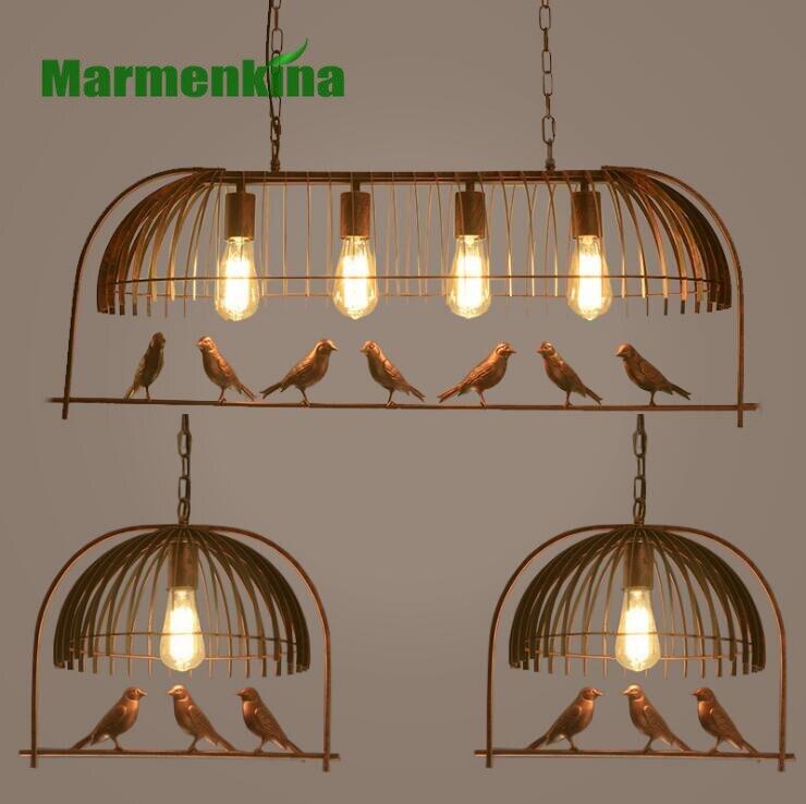 Indoor lighting Bird cage restaurant cafe bar desk study chandelier retro bird balcony chandelier.<br>