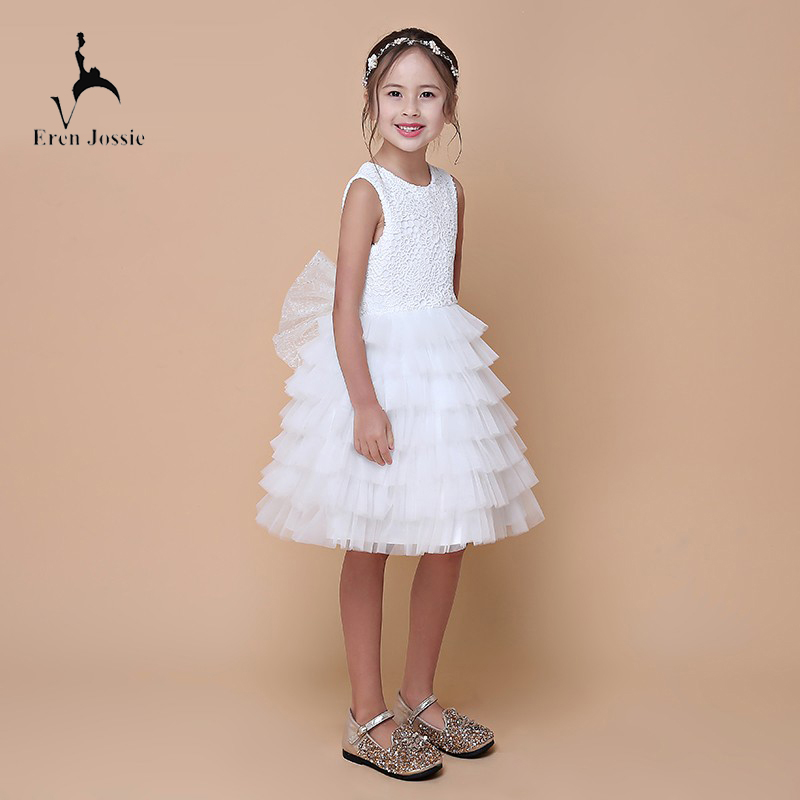 Beautiful Girl Sleeveless Design White Tulle Flower Dresses With Bow Back Party Holy Communion Dresses