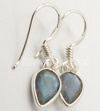 Solid Silver Real FIERY LABRADORITE Lightweight Exquisite Earrings 2.8CM