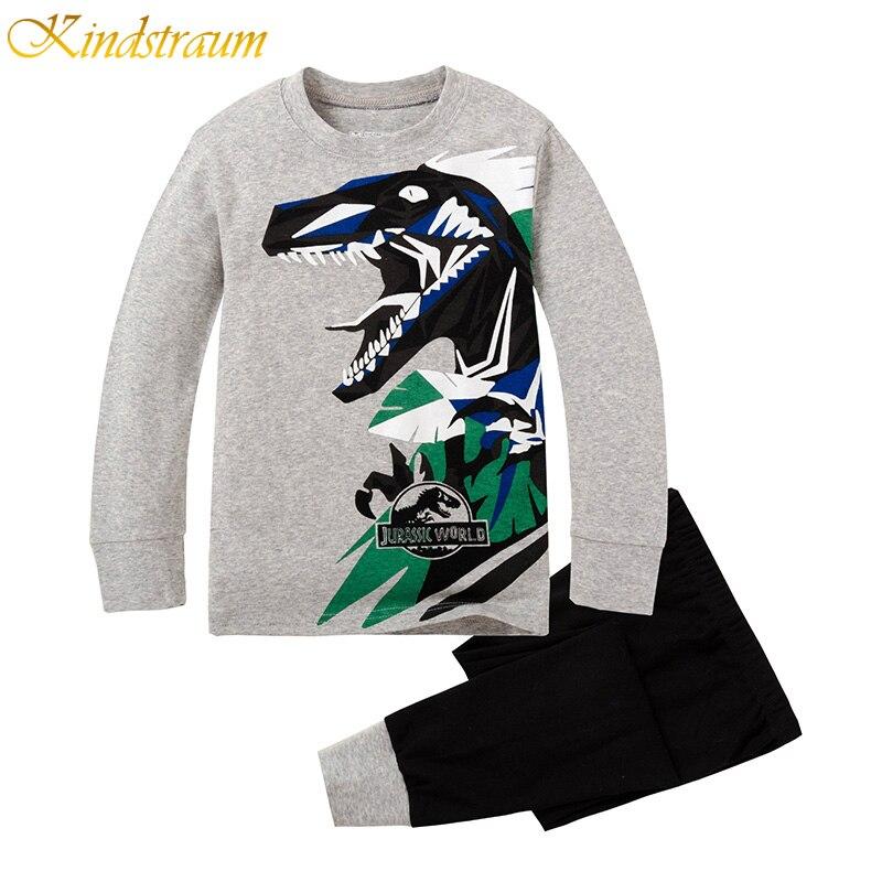 Kindstraum 2017 New Fashion Boys Plaid Clothing Sets Dinosaur Tops+Pants Spring &amp; Autumn Casual Cotton Brand homewear, MC269<br><br>Aliexpress