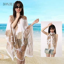 2017 hot Summer Chiffon Scarf Big Size Beach Sunscreen Shawl Scarves High Quality Cheap Women Hijab Shawl wholesale