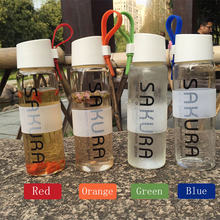 490ml Portable Leakproof Glass Water Kettle and Colorful Silicone Belt Sakura Letters Glass Water Bottle Fashionable(China)