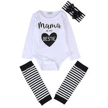 Newborn Baby Boys Girls Bodysuit+Stripe Leg Warmers Headband Outfits Clothes Set Mama Bestie Print Long Sleeve tops clothes(China)