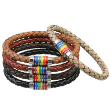 2017 New Black Brown 100% Genuine Braided Leather Bracelet Women Men Stainless Steel LGBT Gay Pride Rainbow Magnetic Bracelets(China)