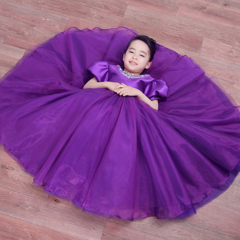 new girl tulle purple bridesmaid flower girl wedding dress fluffy ball gown USA birthday evening prom cloth tutu party dress<br><br>Aliexpress