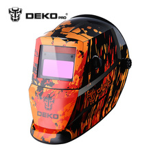DEKOPRO Black Fire Solar Auto Darkening MIG MMA Electric Welding Mask/Helmet/Welding Lens for Welding Machine or Plasma Cutter(China)