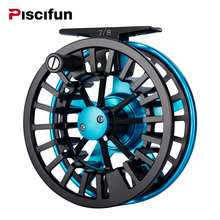Piscifun AOKA Aluminum 5/6 7/8WT Fly Reel Mid-arbor Cork/Teflon Disc Drag System Oversized Handle Fly Fishing Reel(China)