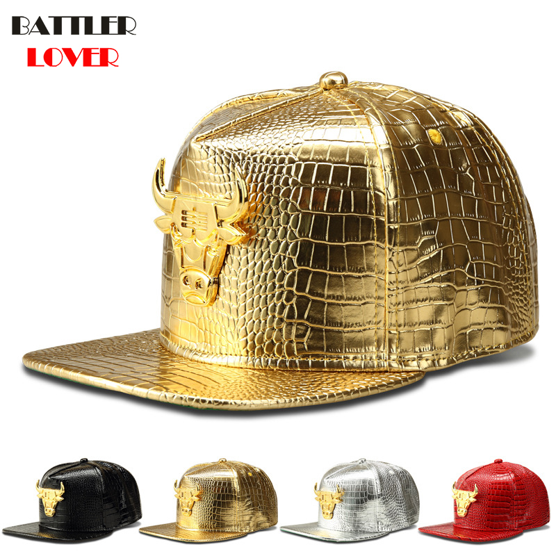 2018 Bull Baseball Cap Men Crocodile Grain Leather Hat Mens DJ Dance Street Dance Hip Hop Snapback Caps Breaking Gorras Hombre