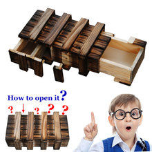Funny Magic Compartment Wooden Puzzle Box With Secret Drawer Brain Teaser Educational Kids Toys Christmas Birthday Gift M09(China)