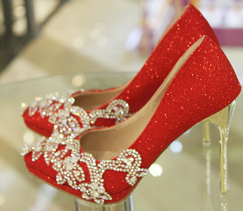 2016 spring Womens crystal shoes wedding shoes bridal shoes rhinestone handmade red thin heels high-heeled pointed toe pumps<br>