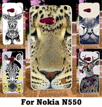 Hard Plastic and Soft TPU Telephone Housing Covers For Nokia Lumia 550 N550 Cases Colorful Aniaml Painting Phone Bags Housings