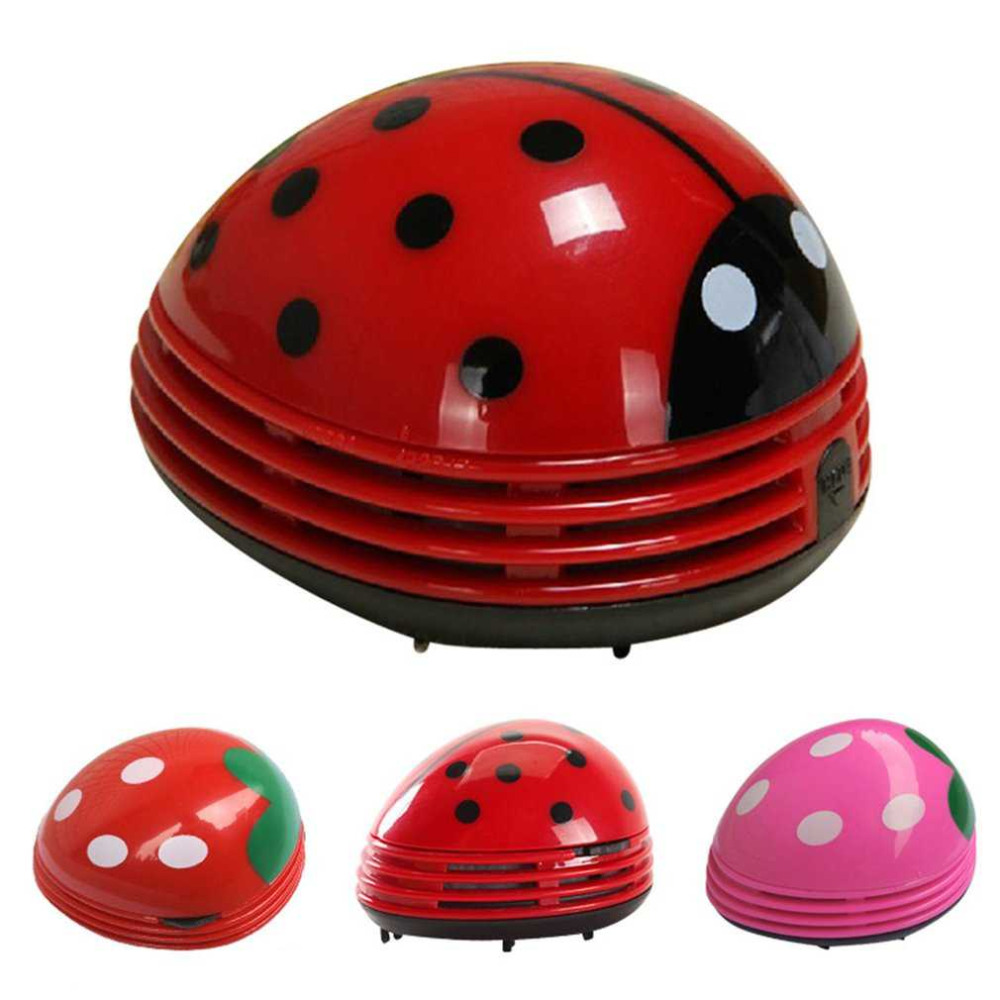 PREUP Cute Lovely Ladybug Dust Collector Cleaning Brushes Mini Desktop Vacuum Cleaner Home Office Keyboard Cleaner Hot New(China)