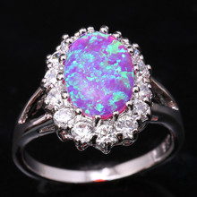 Unusual Eggform Pink Fire Opal White Fashion Wholesale 925 Sterling Silver Stamped Jewelry Wedding Rings Us# Size 6 7 8 9 SF1256
