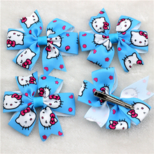 6pcs Hello Kitty Little Girl Ribbon Bows Boutique Baby Bow clips Sky Blue Kitty Cat Magic Hair clips Children hair Accessories