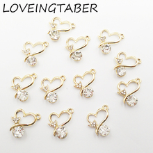 Buy 17mm*15mm 30pcs/lot Gold Color Arrow Heart Rhinestone Small Charm Pendants Jewelry Making Handmade DIY Accessories for $5.24 in AliExpress store