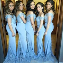 Hot New Elegant Sky Blue Lace Wear 2018 Beading Off Shoulder Mermaid Sweep Train Bridesmaid Dress Wedding Party Gowns Dresses(China)