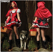 TPRPCO Christmas Costumes Cotton Short Sleeve Little Red Riding Hood Evil Queen Cosplay Halloween Queen Witch Costume CO40135143