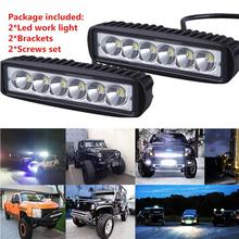 Newest Car Styling Car Accessories 2 PCS 18W Flood LED Light Work Bar Lamp Driving Fog Offroad SUV 4WD Car Boat Truck Wholesale(China)