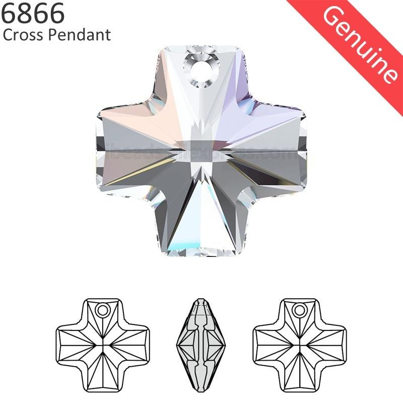 Swarovski Crystal Glass Beads Cross 5378 Clear AB 14mm