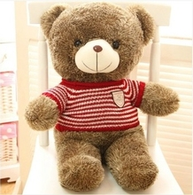 stuffed animal lovely teddy bear 60cm red stripes sweater bear plush toy soft doll throw pillow w3363(China)