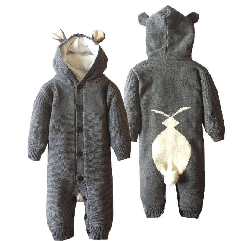 Baby Rabbit Romper Baby Boy Clothes Fashion Newborn Crochet Long Sleeve Romper Jumpsuit 100% Cotton Hooded Rompers Bebe Clothing<br><br>Aliexpress