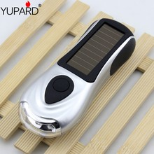 yupard hand-cranked dynamo flashlight 3 LED lamp torch portable lantern solar power torch outdoor camping(China)