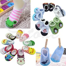 1 Pair Random Cute Lace Side Baby Boy Girl Toddler Anti-Slip Socks Shoes Slipper(China)
