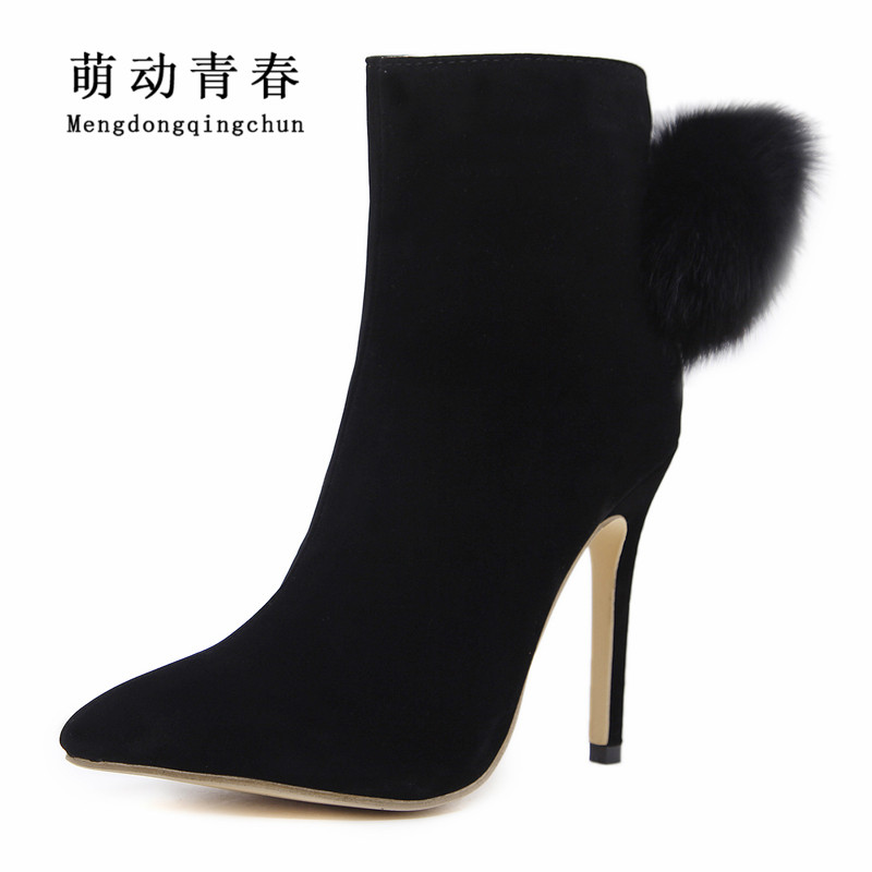 2018 Women Fashion Boots Faux Fur Women Pointed Toe Boots Thin Heel Women Ankle Boots Women Flock Zipper Bootie Sapatos<br>