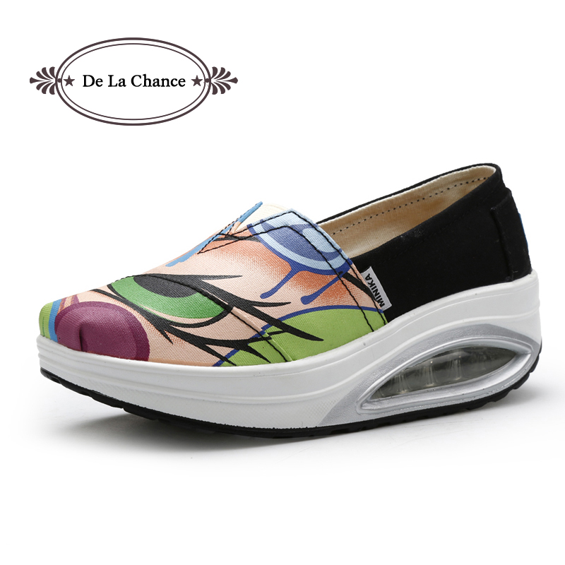 2016 Spring Autumn Womens Fashion Casual Shoes Shape Ups Female Wedges Shoes Woman Platform Shoes Wedge Swing Shoes Graffiti<br><br>Aliexpress