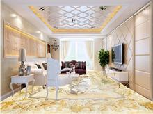 vinyl flooring Custom Golden waterproof wallpaper for bathroom Golden Jewelery Marble 3d floor wallpapers for walls