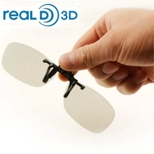 Clip-on 3D Glasses Polarized for nearsighted people watching passive 3D TVs and RealD 3D cinema system