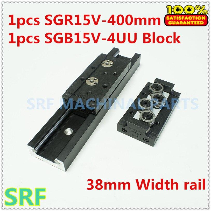 High quality 38mm width Rectangle wheel Linear Guide Rail 1pcs SGR15V Length=400mm +1pcs SGB15V-4UU four wheel slide block<br>