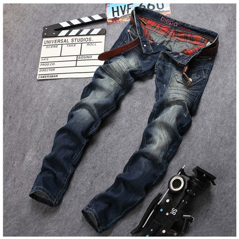 Patchwork Big Pocket Mens Jeans 2017 Mens Fashion Brand Long Jeans Pants Designer Hot Sale Straight Slim Casual Trousers 30-38Îäåæäà è àêñåññóàðû<br><br>