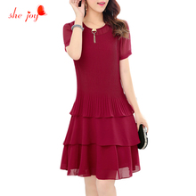 Sequin Midi Long Dress for Women Chiffon Women's Dress Plus Size Chiffon Clothings Short Sleeve 3 Layers Elegant Clothes L-4XL