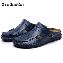 Buy XiaGuoCai Men Sandals Slippers Genuine Leather Cowhide Male Summer Shoes Outdoor Casual Leather Sandals Hombre Men Shoes Sandals for $25.45 in AliExpress store