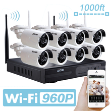ZOSI 960P AUTO-PAIR Wireless CCTV System 8CH 960P/1080P NVR with 8* 1.3MP 960P 1Waterproof  Camera Support 3G Mobile Phone View