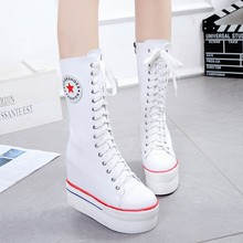 2017 hot fashion women canvas shoes knee high shoes female motorcycle boots high women canvas boots Cheerleading Dance shoes