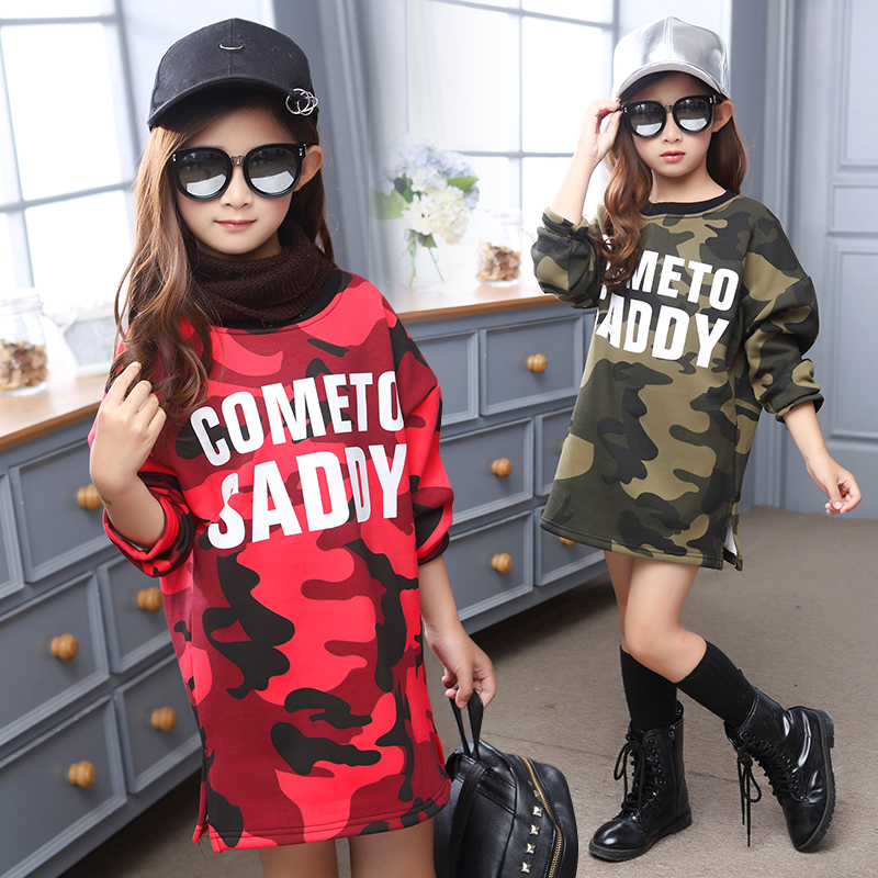 Kids Dress for Girls Camouflage Dresses Infant Casual Dress Children Velvet Clothes Winter Dresses Xmas Gifts Warm Clothing 3-12<br><br>Aliexpress