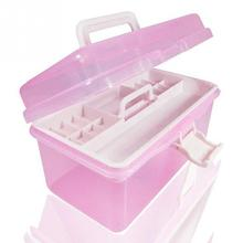 Practical Home Two Layer Jewelry Small Objects Organizer Holder Cabinets Plastic Pink Storage Case Desktop Storage Box