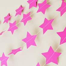 50pcs/lot Party Decoration Pink Stars Paper Garland 1M Long Paper Banner Party Favors