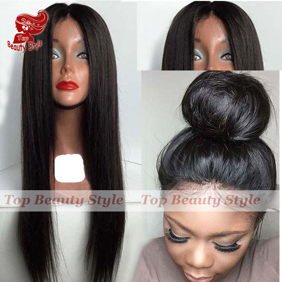 2017 Hot Sale Front Lace Natural Black Color Wigs Heat Resistant Silk Straight Hair Synthetic Lace Front Wigs for Black Women<br><br>Aliexpress