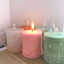 Cylinder Silicone Candle Molds Clay Candle Molds Christmas decorating candles molds(China)