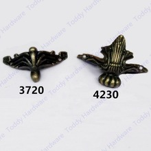 4pcs 37*20mm/42*30mm  Antique Brass Vintage Bronze Jewelry Chest Wooden Case Decorative Feet Leg Furniture Caster With Screws