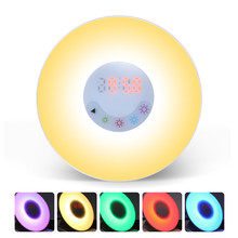 Smart Home High Quality 3 in 1 LED Light Alarm Clock with FM Radio Wake-Up Night Lamp For Health Care