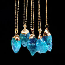 2017 Maxi Fashion Irregular Natural Store Quartz Long Crystal Necklace & Pendant Womens Decoration On The Neck With Stones(China)