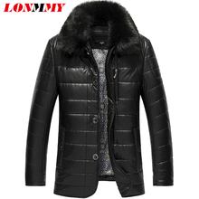 LONMMY 6XL 7XL 8XL Long leather trench coat men jackets Casual PU Suede Fur collar leather jacket men windbreaker 2017 Winter(China)