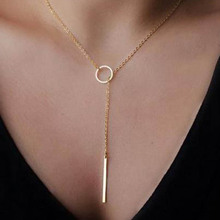 Hot Selling Gold Circle and Long Bar Pendants Necklaces For Women Fashion Jewelry Accessories